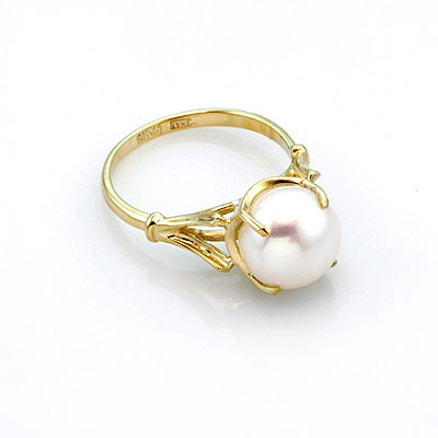 Кольцо в желтом золоте с белым жемчугом 3.72 г SL-0255-370