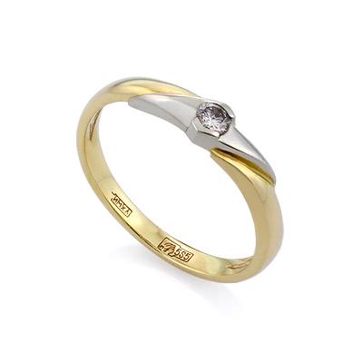Золотое кольцо с бриллиантами 2.5 г SLV-K130