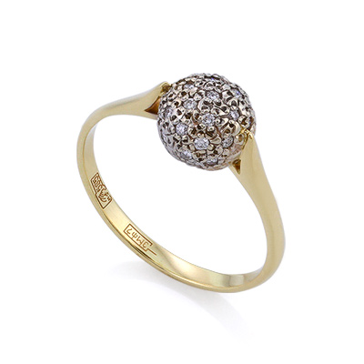 Золотое кольцо с бриллиантами 2.32 г SLV-K154