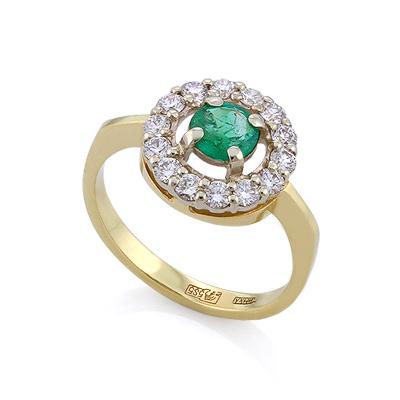 Золотое кольцо с изумрудом в кольце бриллиантов 3.87 г SLV-K284