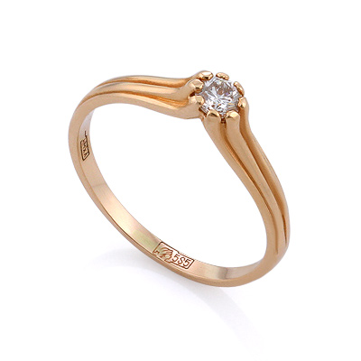 Золотое кольцо с бриллиантами 1.55 г SLV-K417