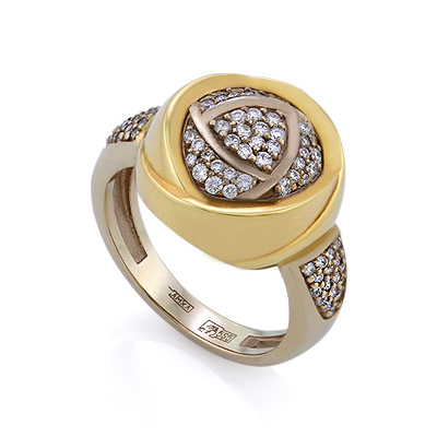 Золотое кольцо с бриллиантами 8.23 г SLV-K377