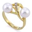 Золотое кольцо с двумя жемчужинами и бриллиантом SLV-K057 весом 5.27 г  стоимостью 22680 р.
