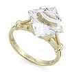 Золотое кольцо с горным хрусталем огранки