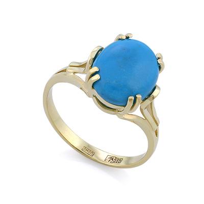 Кольцо с натуральной бирюзой 3.81 г SLK-2854-390