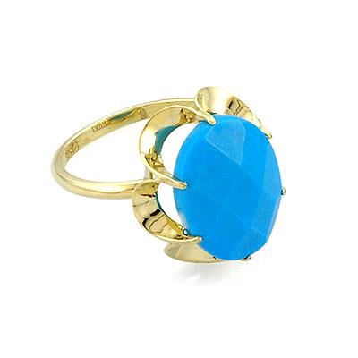 Кольцо с бирюзой из желтого золота 3.71 г SL-0225-371