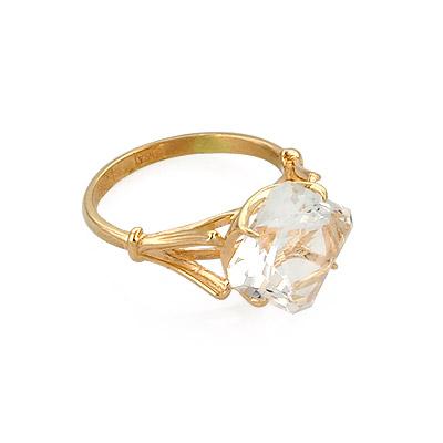 Золотое кольцо с натуральным горным хрусталем 3.65 г SL-0255-319