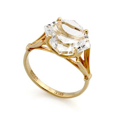 Кольцо из желтого золота сгорным хрусталем 3.62 г SL-0255-268