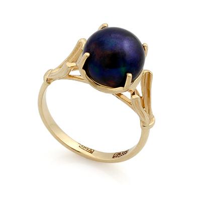 Кольцо с черным жемчугом 3.95 г SL-0255-389