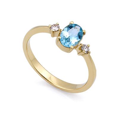 Золотое кольцо с аквамарином и бриллиантами 2.4 г SL-155-240