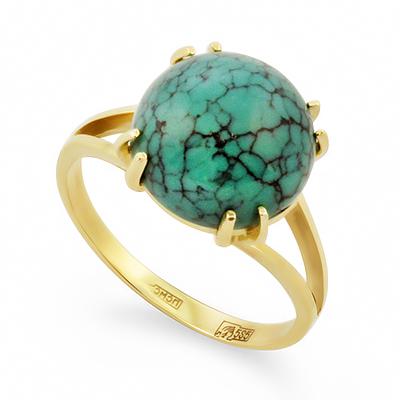 Кольцо с бирюзой в желтом золоте 3.92 г SL-2295-392
