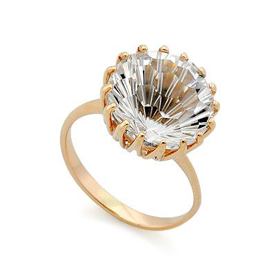 Золотое кольцо с горным хрусталем 4.34 г SV-0401-434